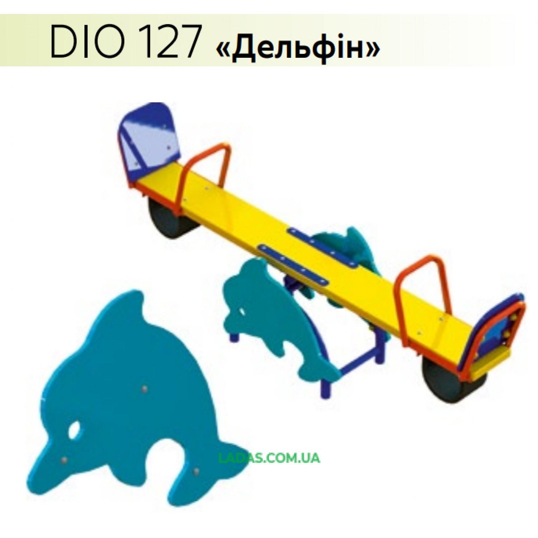 Уличная детская качель-балансир с инсталляцией Гномик, Слоник, Дельфин, Черепаха, Носорог, Улитка (под бетонирование)