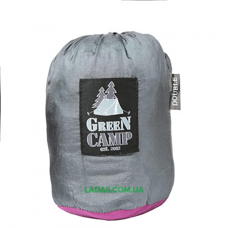 """Гамак GreenCamp """"VOYAGE"""", 300*200см, парашютный шелк, серый/вишневый."""