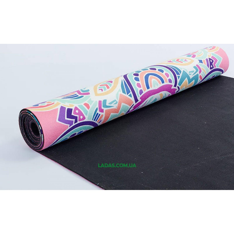 Коврик для йоги и фитнеса замшево-каучуковый двухслойный (1,83мx0,61мx3мм,Тройной Оберег)