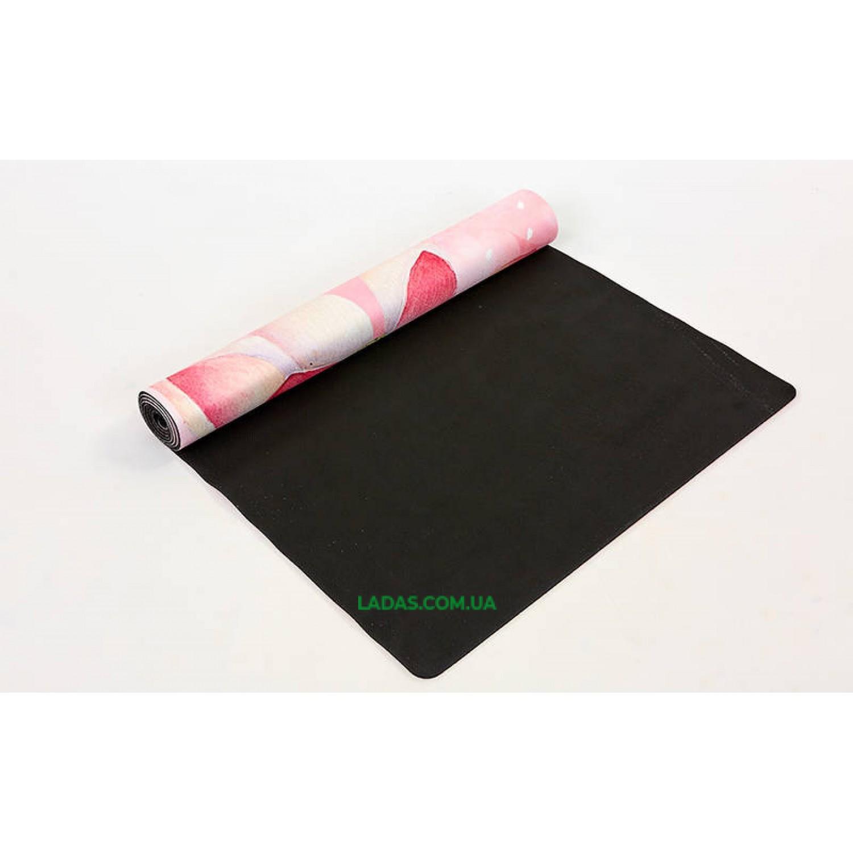 Коврик для йоги и фитнеса замшево-каучуковый двухслойный (1,83мx0,61мx3мм, Нежность лотоса)