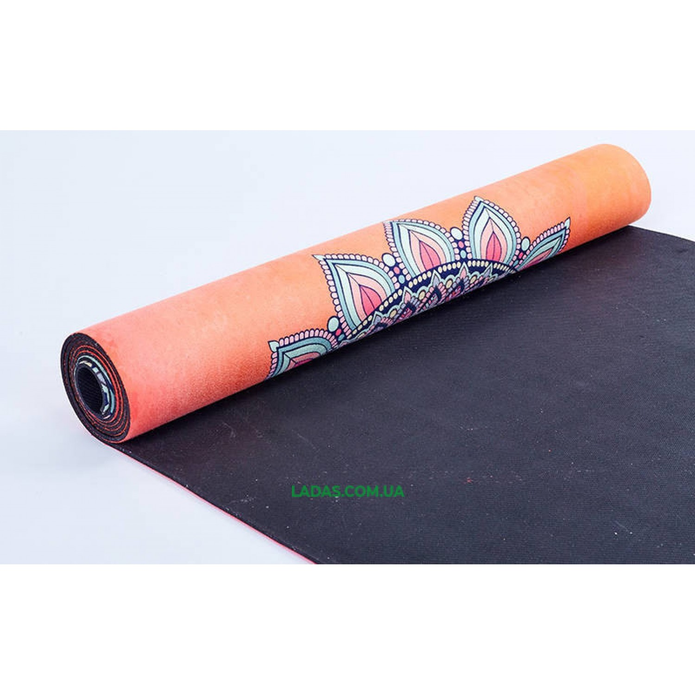 Коврик для йоги и фитнеса замшево-каучуковый двухслойный (1,83мx0,61мx3мм, принт Мандала)