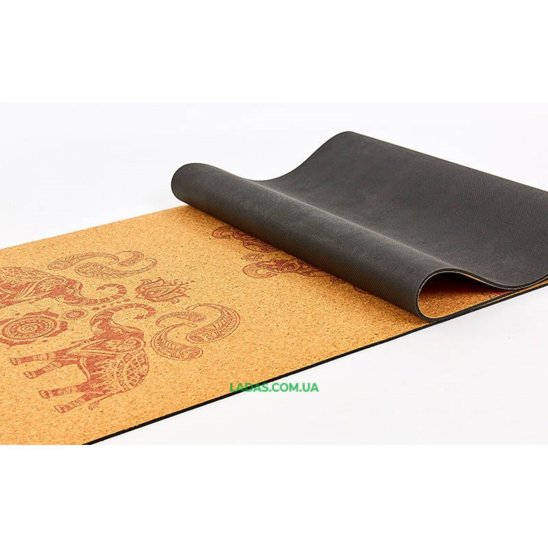 Коврик для йоги пробково-каучуковый двухслойный(1,83мx0,61мx4мм, с принтом Марш слонов)