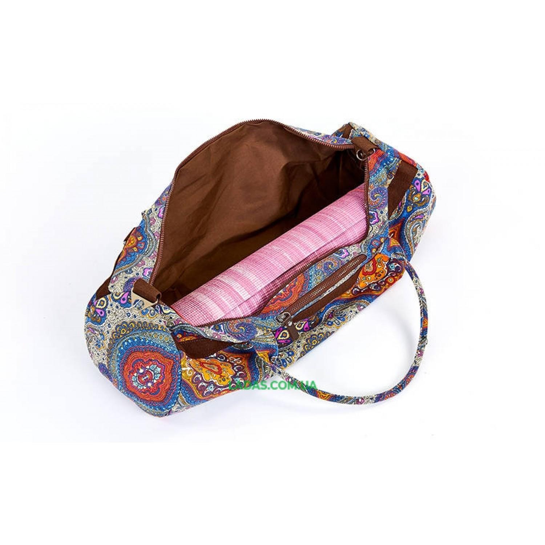 Сумка для йога коврика Yoga bag KINDFOLK (р-р 20х65см, серо-синий)