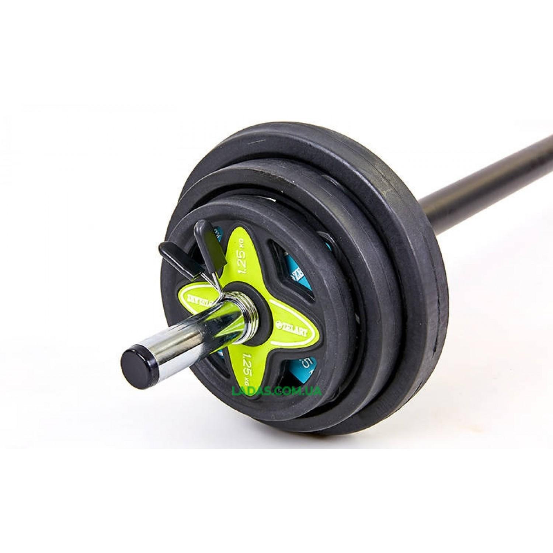 Штанга для фитнеса (фитнес памп) 20кг (гриф l-1,3м, d-25мм, обрезин.блины 2x(1,25+2,5+5кг))