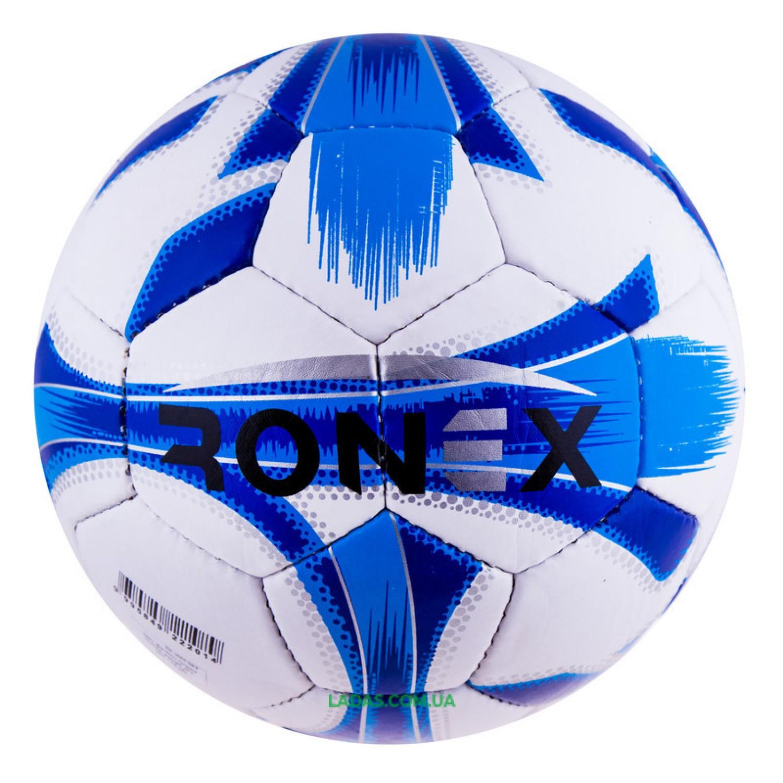 Мяч футбольный Grippy Ronex-JM4 (сшит вручную, бело-голубой)