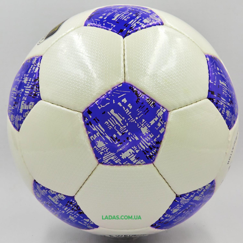 Мяч футбольный №5 PU ламинированный OFFICIAL (бело-синий, сшит вручную)