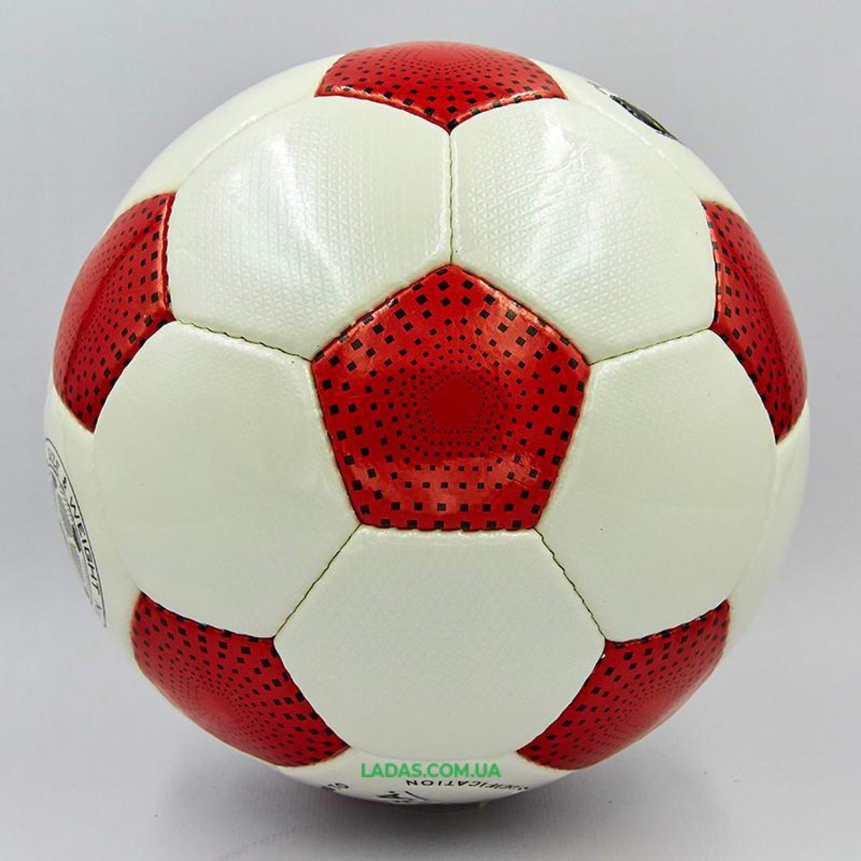 Мяч футбольный №5 PU ламинированный OFFICIAL (красно-белый, сшит вручную)
