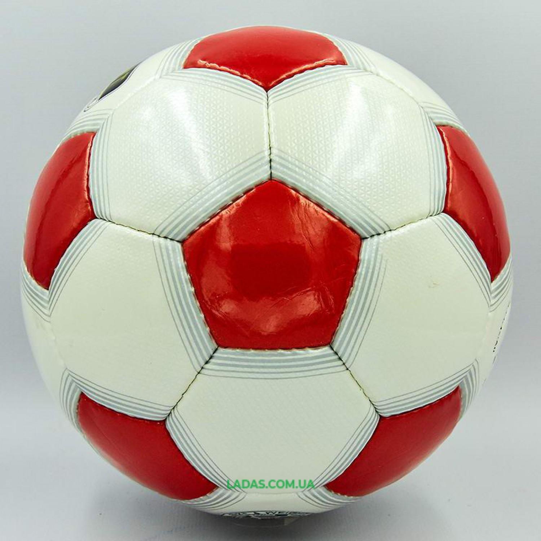 Мяч футбольный №5 PU ламинированный OFFICIAL (бело-красный, сшит вручную)