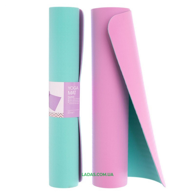 Коврик для фитнеса и йоги TPE 6мм двухслойный FI-1515 (размер 1,83мx0,61мx6мм, цвета в ассортименте)