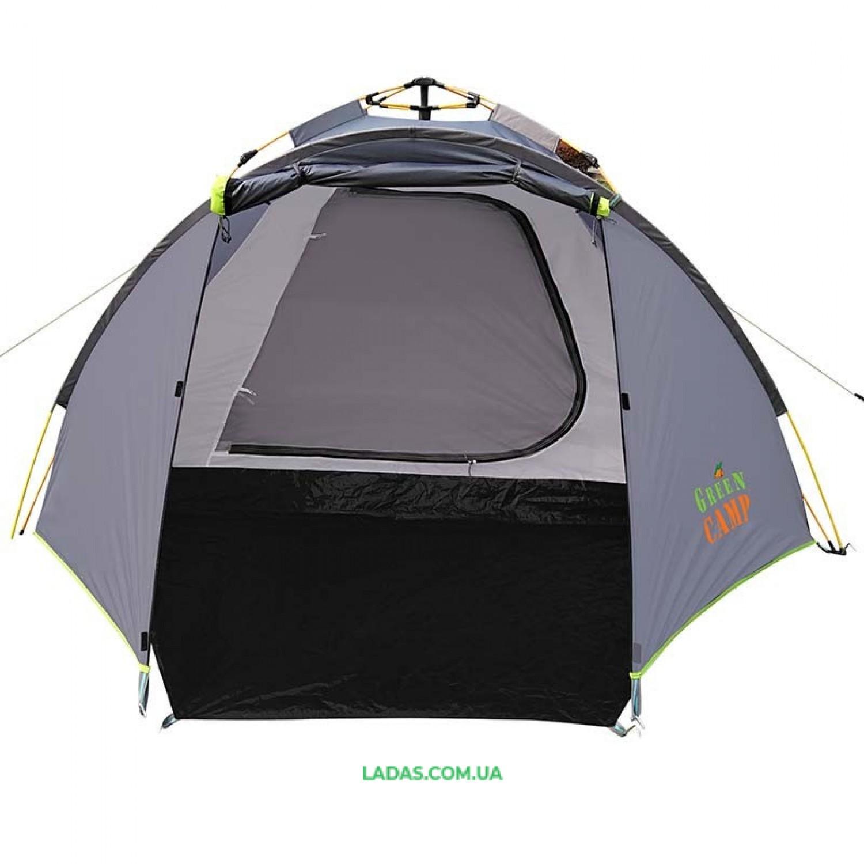 Палатка 4-х местная GreenCamp GC900, автомат(р-р 300 (210+90) х 230 х 135,PL,серый)