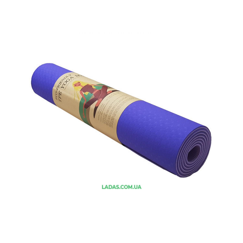 Коврик для фитнеса двухслойный (TPE, 183смх61смх6мм)