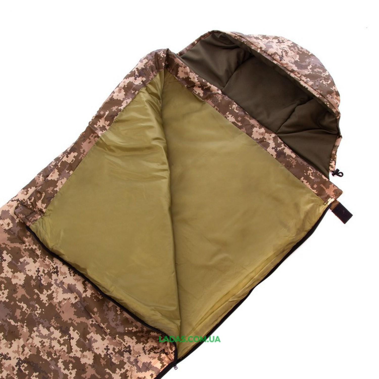 Спальный мешок одеяло с капюшоном камуфляж (PL, хлопок,300г на м2,р-р 185+35х72см,t+15 до 0)