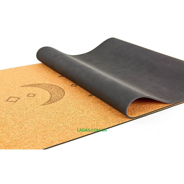 Коврик для йоги пробково-каучуковый двухслойный (1,83мx0,61мx4мм, с принтом Лунный цикл)