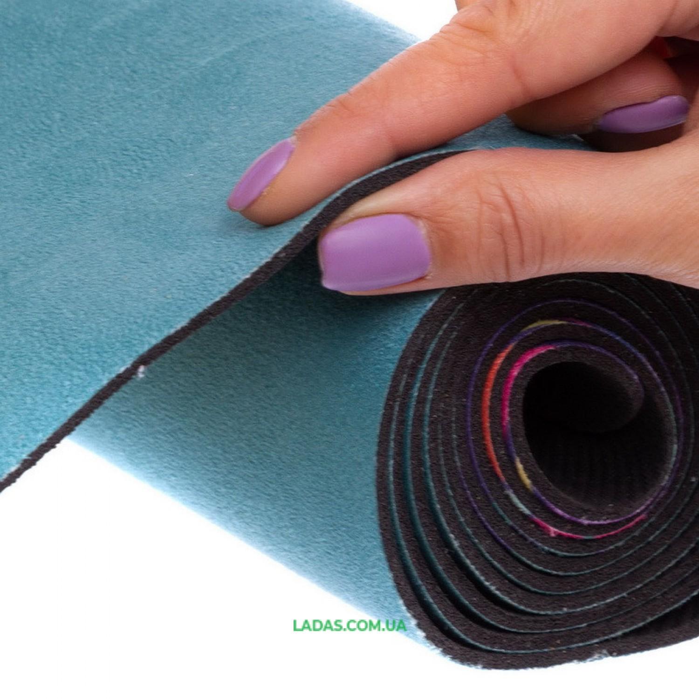 Коврик для йоги и фитнеса замшево-каучуковый двухслойный (1,83мx0,61мx3мм)