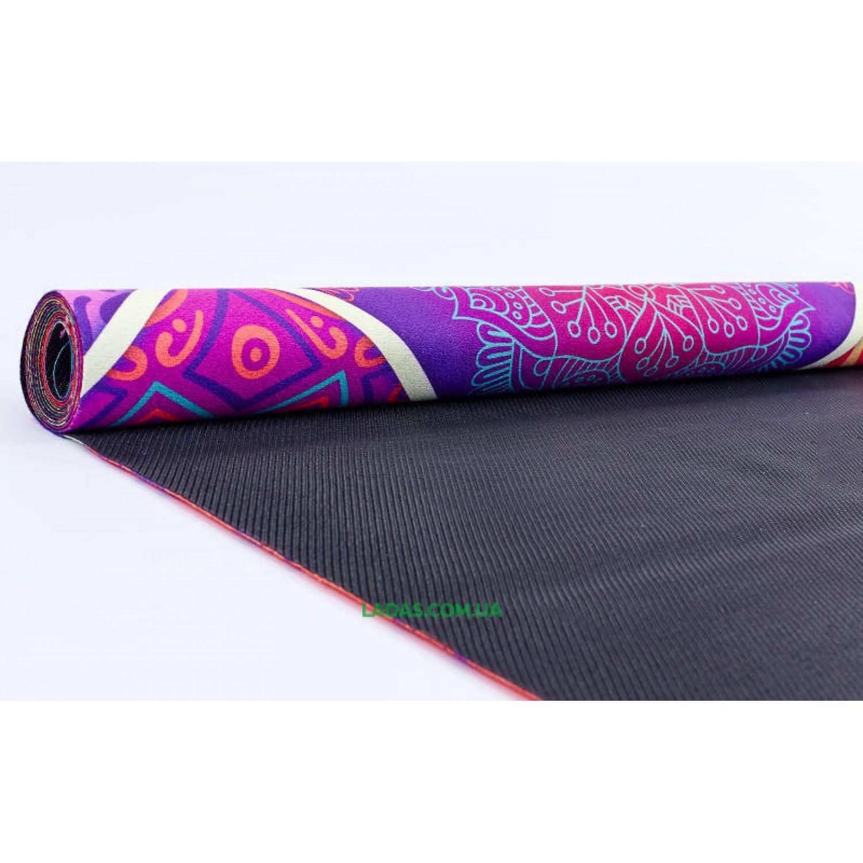 Коврик для йоги и фитнеса замшево-каучуковый двухслойный (1,83мx0,61мx1мм, принт Калейдоскоп)