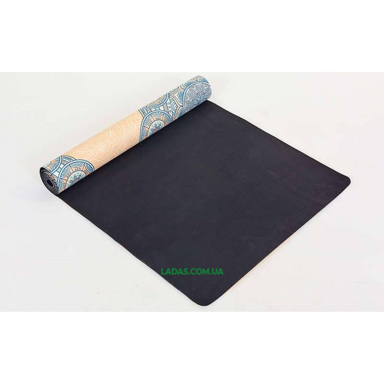 Коврик для йоги и фитнеса замшево-каучуковый двухслойный (1,83мx0,61мx3мм, Индийский принт)