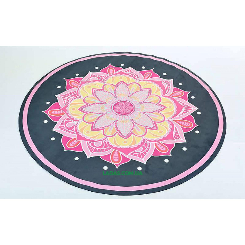 Коврик для йоги замшево-каучуковый 3мм двухслойный (принт Огненный цветок, диаметр 150см)
