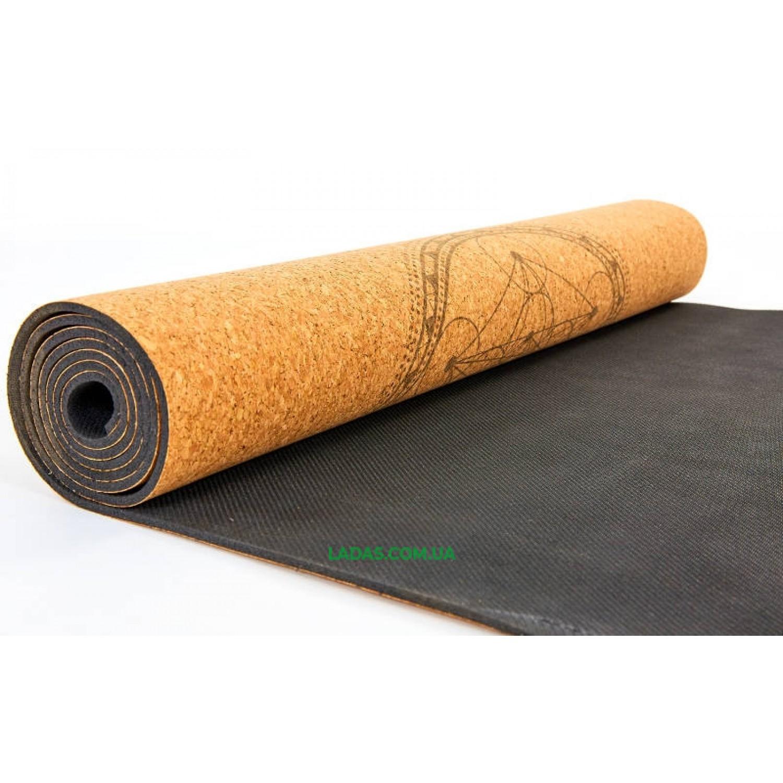 Коврик для йоги пробково-каучуковый двухслойный(1,83мx0,61мx4мм, принт Мандала)