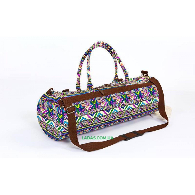 Сумка для йога коврика Yoga bag KINDFOLK (р-р 20х65см, фиолетово-синий)