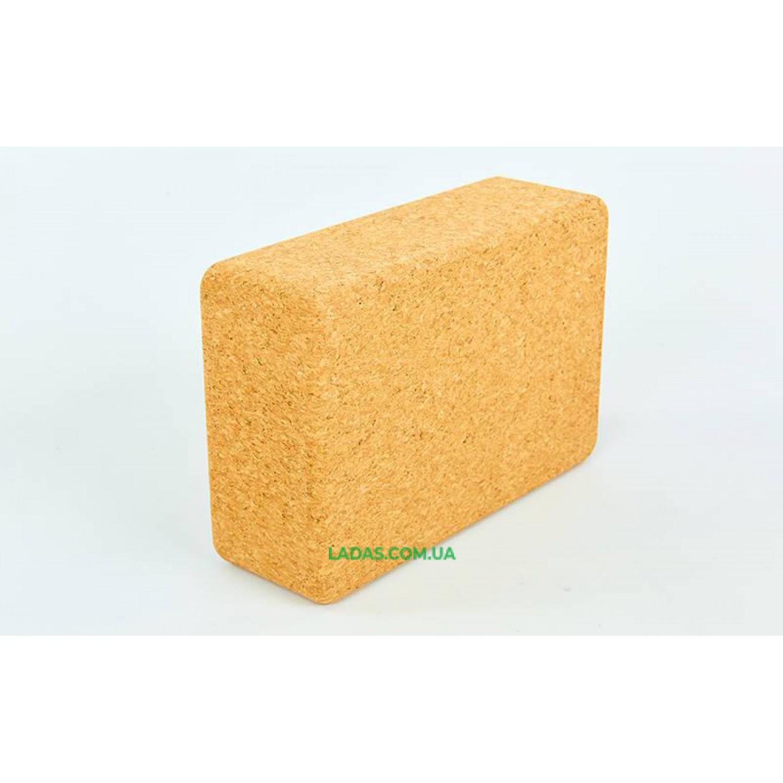 Блок для йоги Пробковый (700гр, р-р 22,5x15x7см, пробковое дерево)