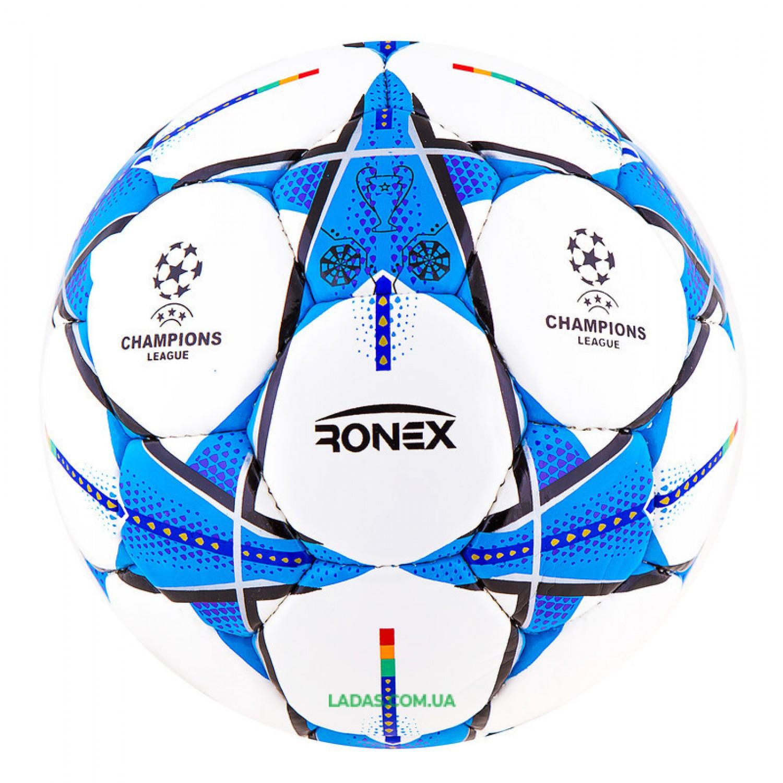 Мяч футбольный DXN Ronex FN1 (сшит вручную, бело-синий)