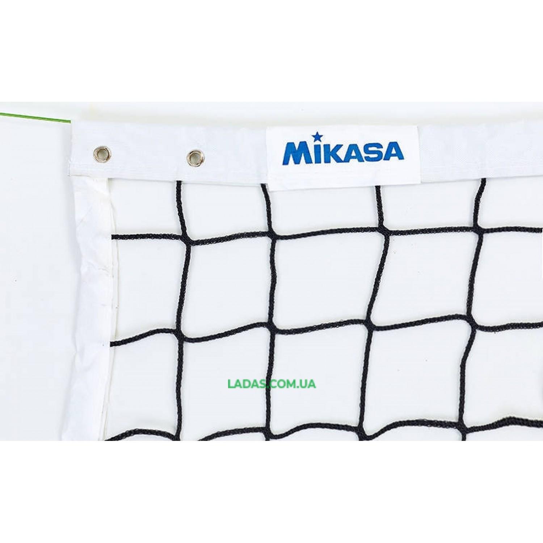 Сетка для волейбола MIKASA (PP 4мм, р-р 9,5x1м, с метал. тросом)дубл