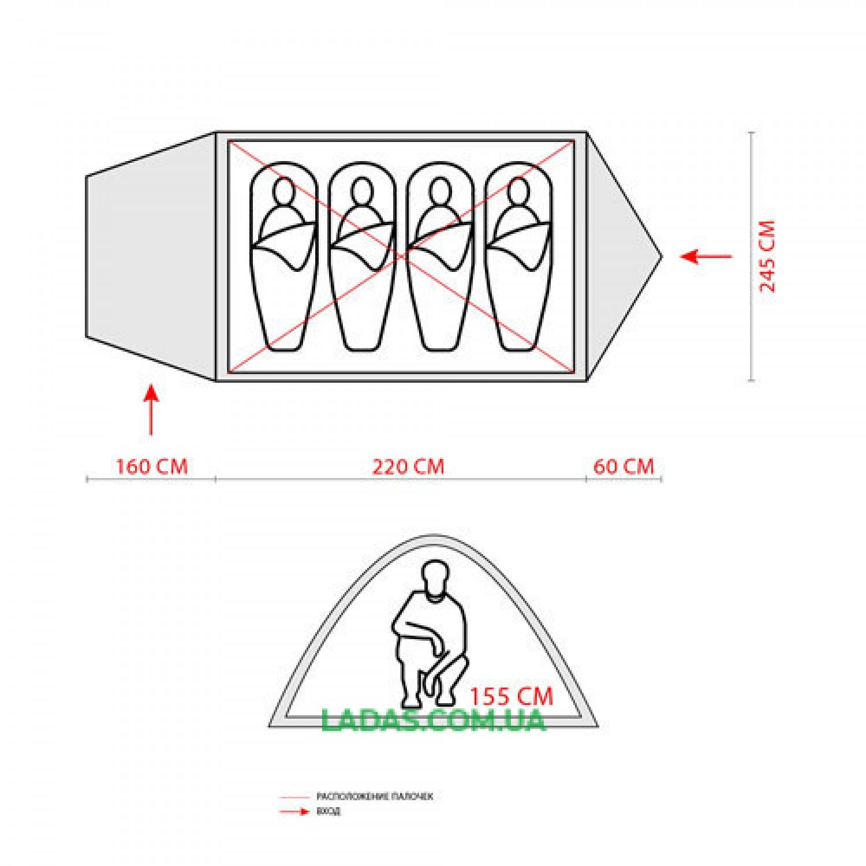 Палатка четырехместная Green Camp 1009-2 (2 входа)