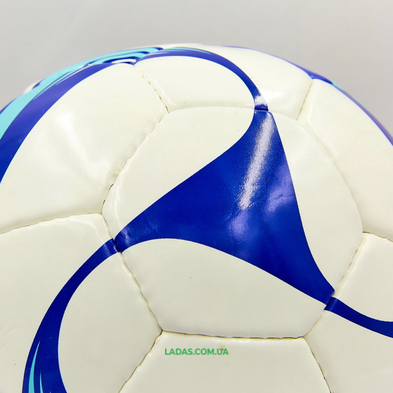 Мяч футбольный №5 PU MOLTEN (сшит вручную, сине-белый)