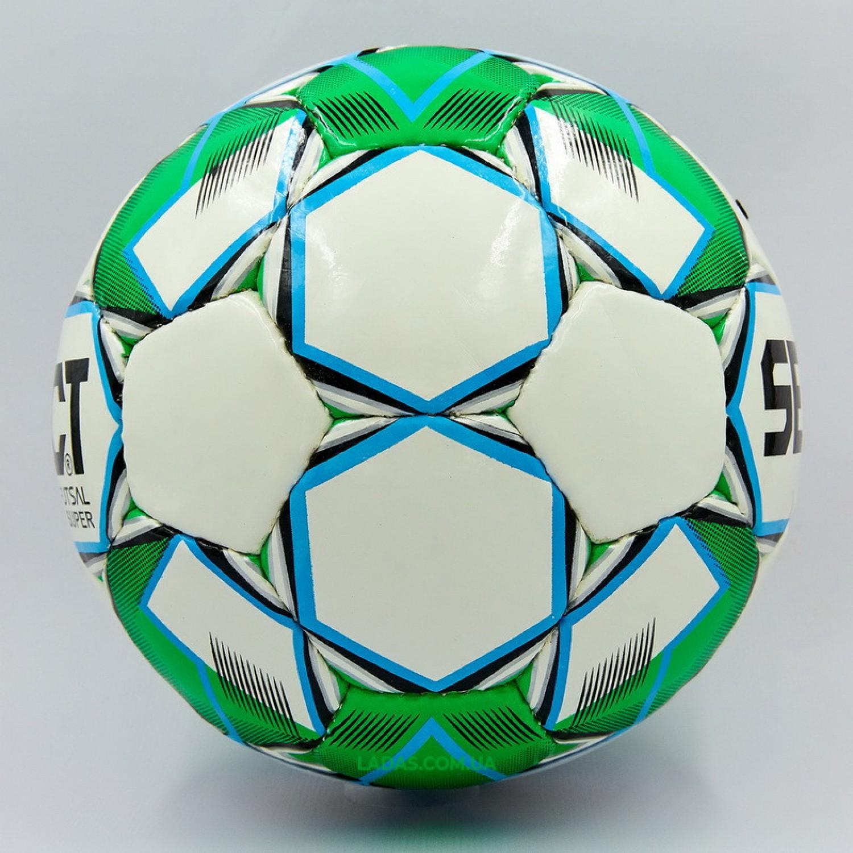 Мяч для футзала №4 ламинированный ST SUPER (зелено-белый, сшит вручную)