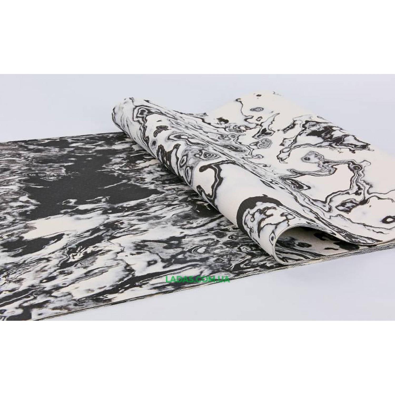Коврик для фитнеса и йоги TPE 5мм KINDFOLK FI-8373 (размер 1,83мx0,61мx5мм, черный-серый-белый)