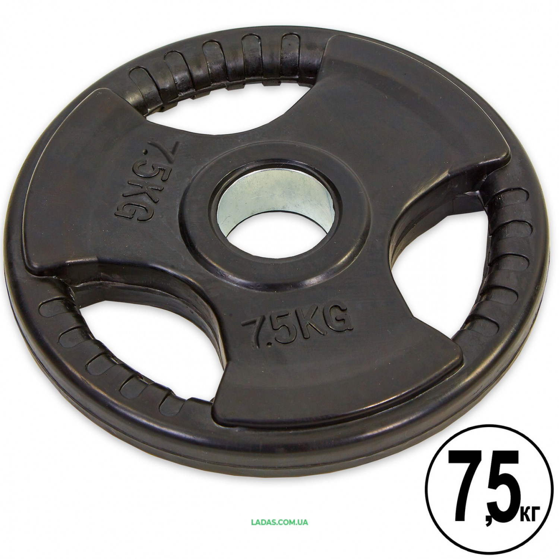 Блины (диски) обрезиненные с тройным хватом и метал. втулкой d-52мм (1шт*7,5кг)