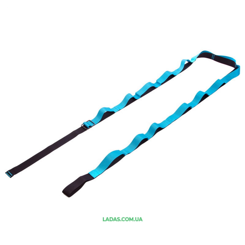 Лента для растяжки с дверным якорем Record FI-6907 (14 петель, полиэстер, р-р 3,7х280см, черный-синий)