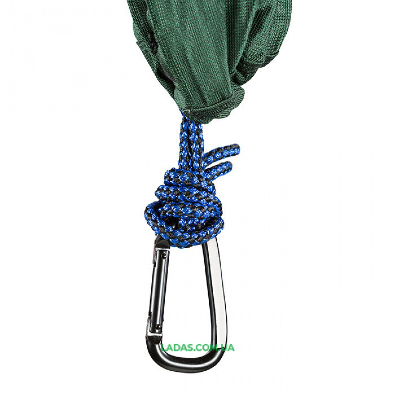 "Гамак GreenCamp ""MINAS"", 270х180см, полиэстр, зеленый, 2 карабина."