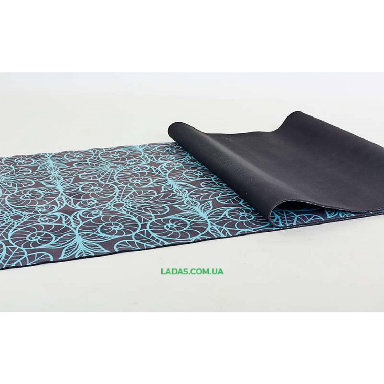 Коврик для йоги и фитнеса замшево-каучуковый двухслойный (1,83мx0,61мx3мм, принт Восток)