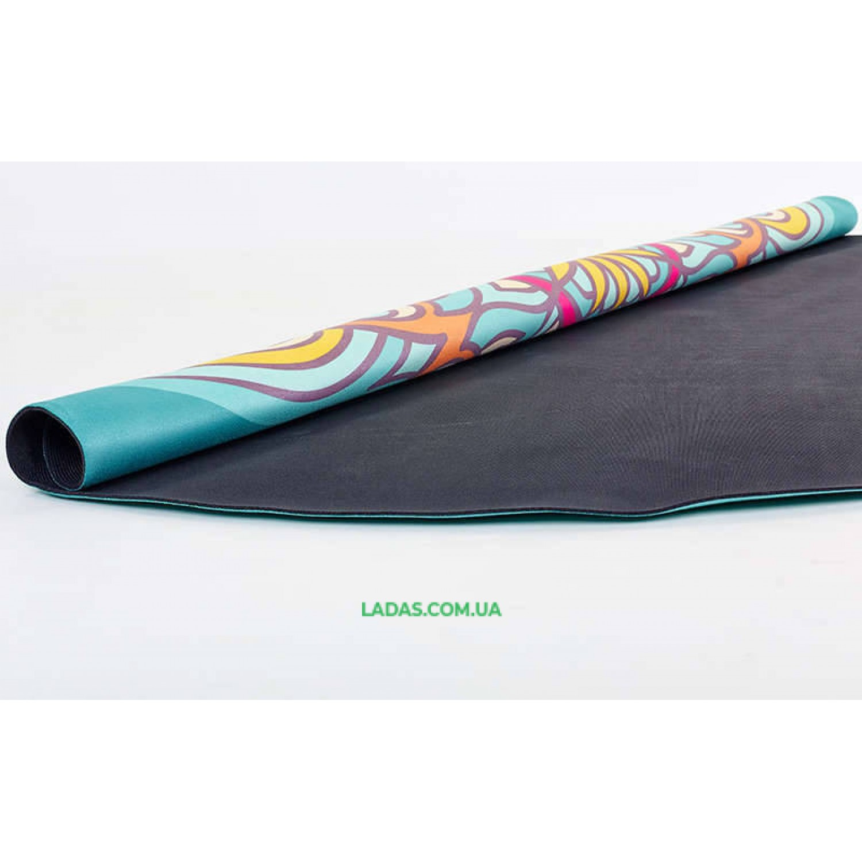 Коврик для йоги замшево-каучуковый 3мм двухслойный (принт Жизнь,диаметр 150см)