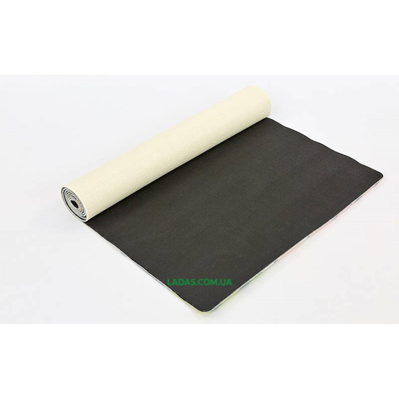 Коврик для йоги Джутовый двухслойный (1,83мx0,61мx3мм, лен, каучук, принт Спокойствие лотоса)