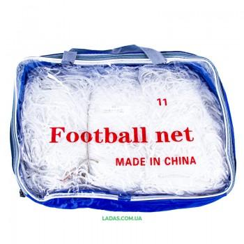 Сетка на ворота футбольные любительская узловая (2шт) (нить 3мм, ячейка 7x7см, р-р 7,3*2,44 м)