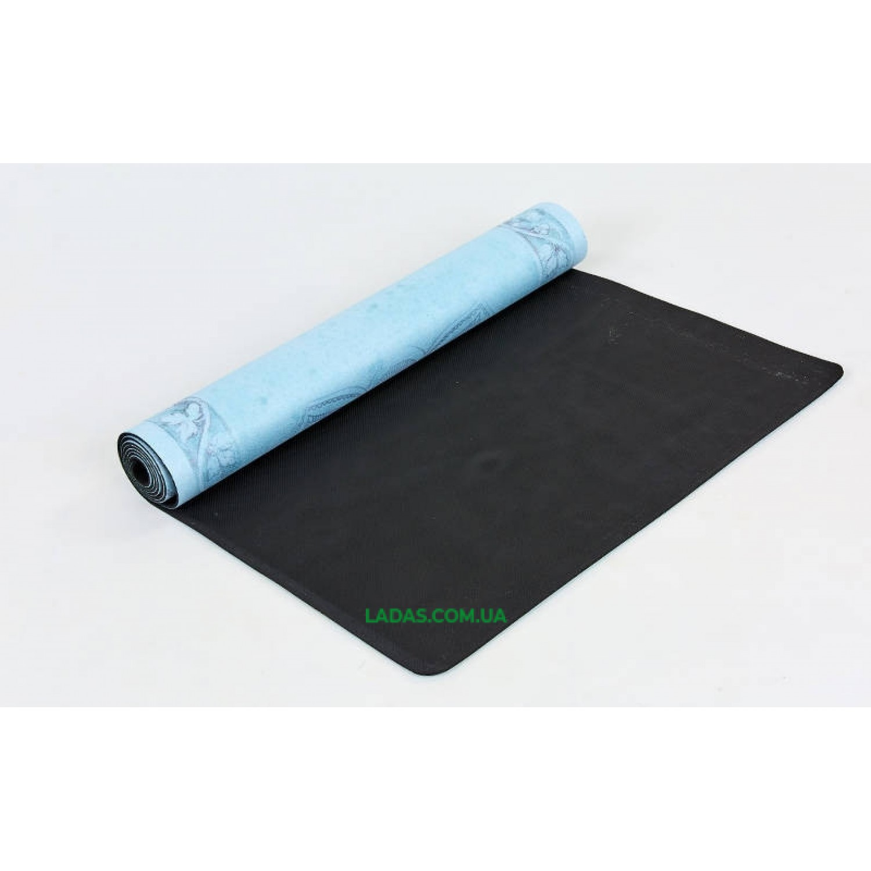 Коврик для йоги и фитнеса замшево-каучуковый двухслойный (1,83мx0,61мx3мм, Цветок жизни)