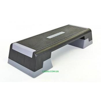 Степ-платформа (пластик, покрытие TPR, р-р 98Lx38Wx15Hсм, черный-серый)