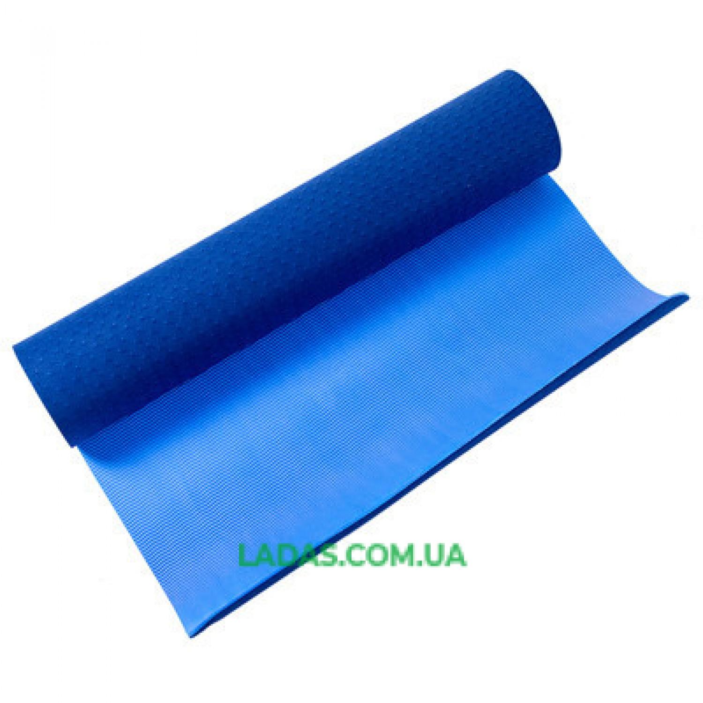 Коврик для фитнеса и йоги двухслойный IronMaster (1,73мx0,61мx6мм, TPE+TC, синий)