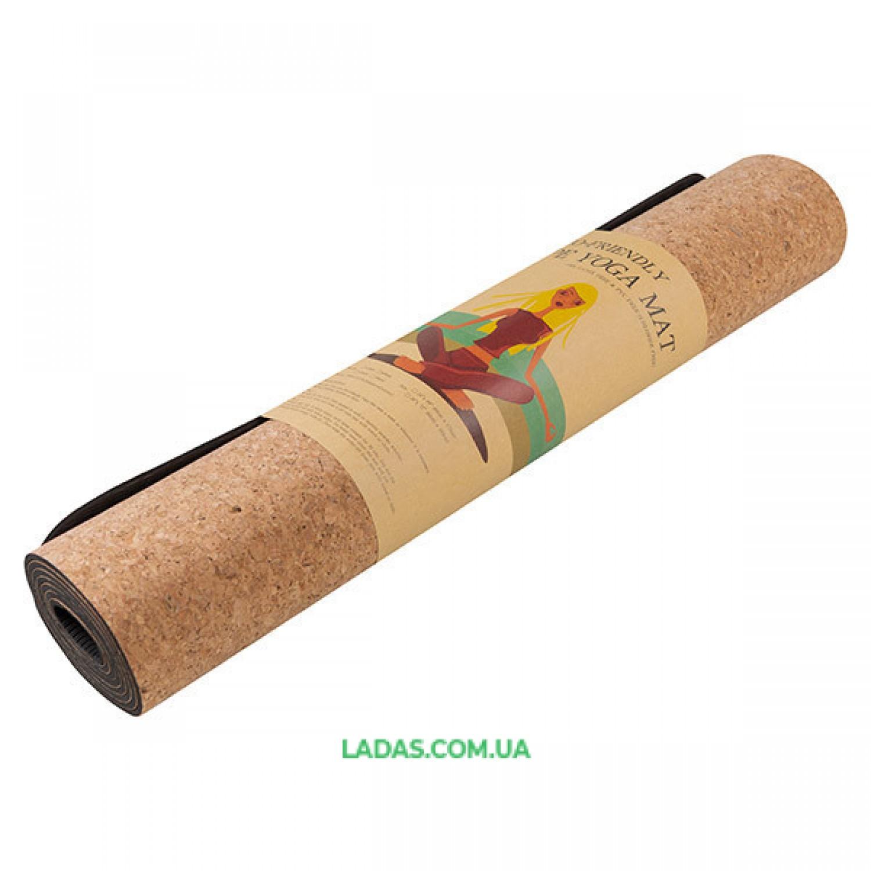 Коврик для йоги пробковый 2-х слойный (1,83мx0,61мx4мм, пробковое дерево, TPE)