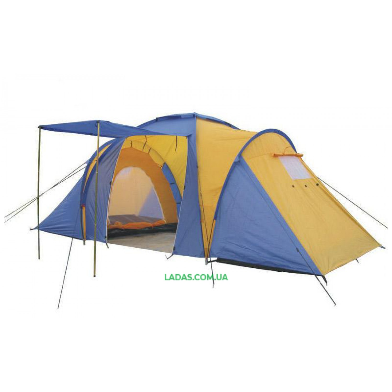 Палатка кемпинговая 4-х мест 2-х комн с тентом и тамбуром FAMILY