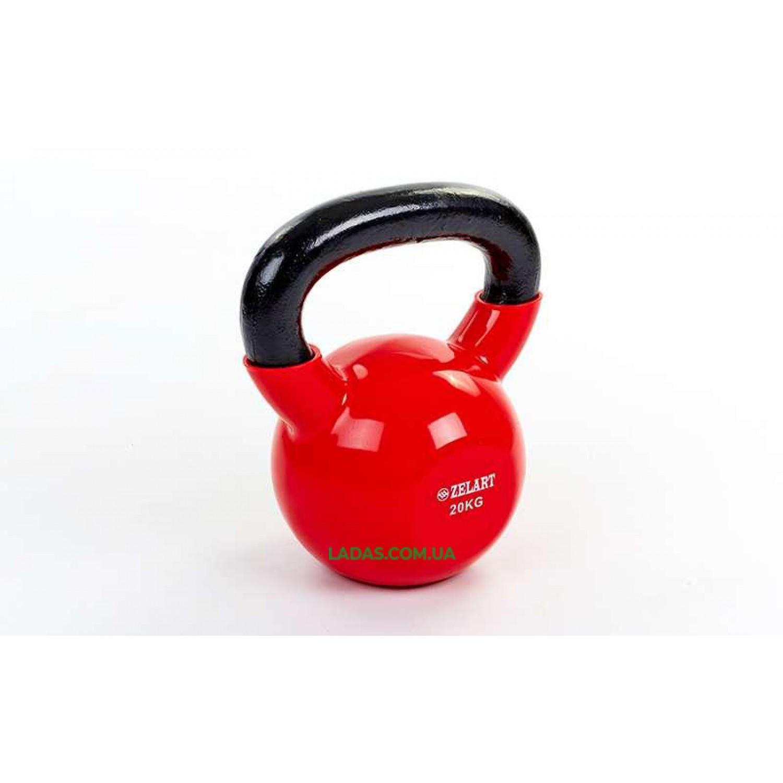 Гиря чугунная с виниловым покрытием 20кг (красный)