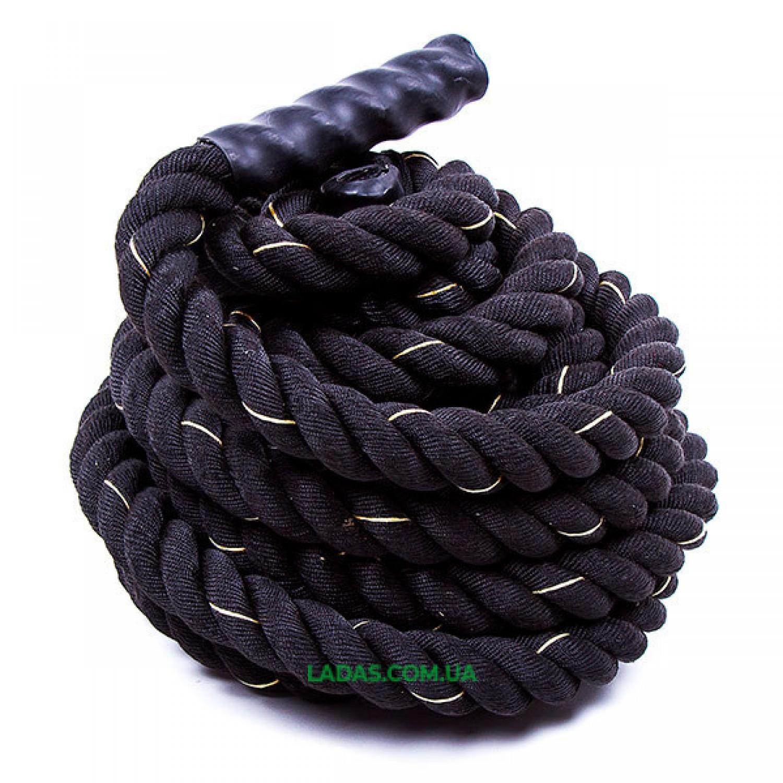 Канат для кроссфита черный Battle Rope (полипропилен, длина 12 м, диаметр 3,8 см)