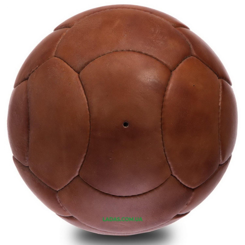 Мяч футбольный №5 Кожа VINTAG F-0256 (№5, 5сл., 18 панелей, сшит вручную, коричневый)