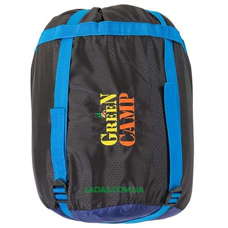 Спальник GreenCamp, одеяло, 450гр/м2, черно/голубой, подкладка Barberi, 230 х 80 см.