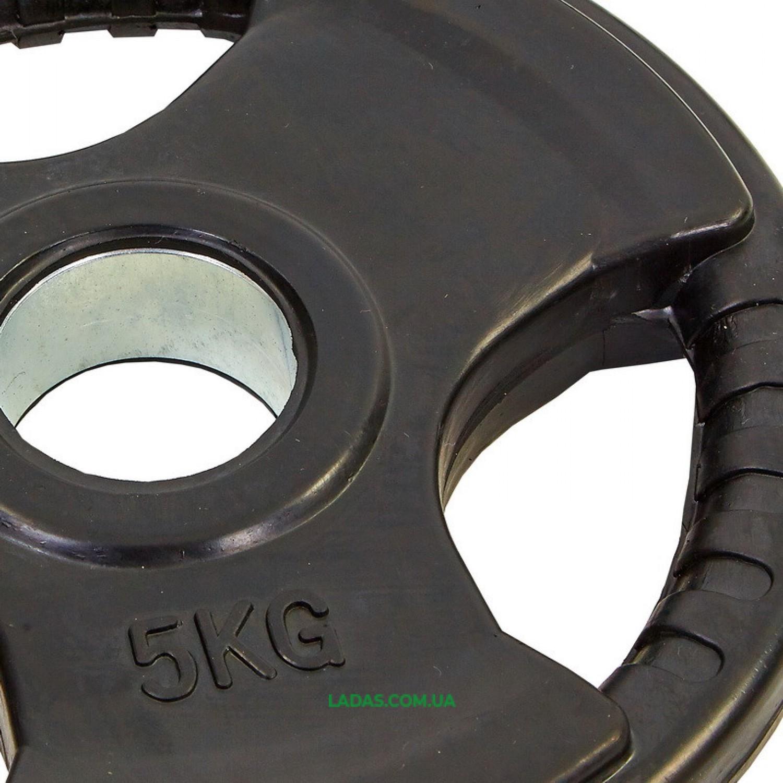 Блины (диски) обрезиненные с тройным хватом и метал. втулкой d-52мм (1шт*5кг)