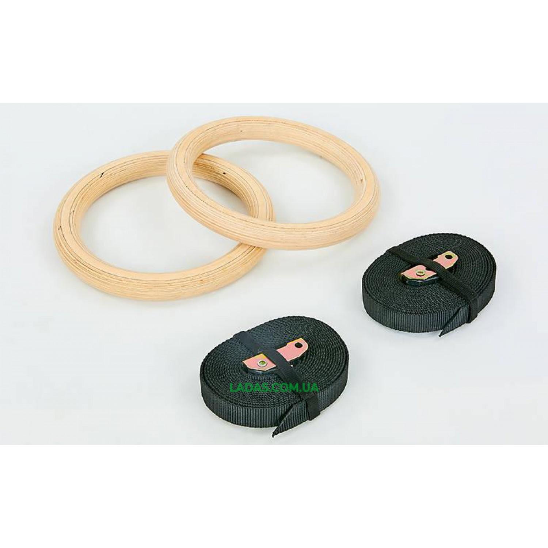 Кольца гимнастические для Кроссфита FI-6211 (ленты-нейлон длина-4,5м, кольцо-дерево d-23,5х2,8см)