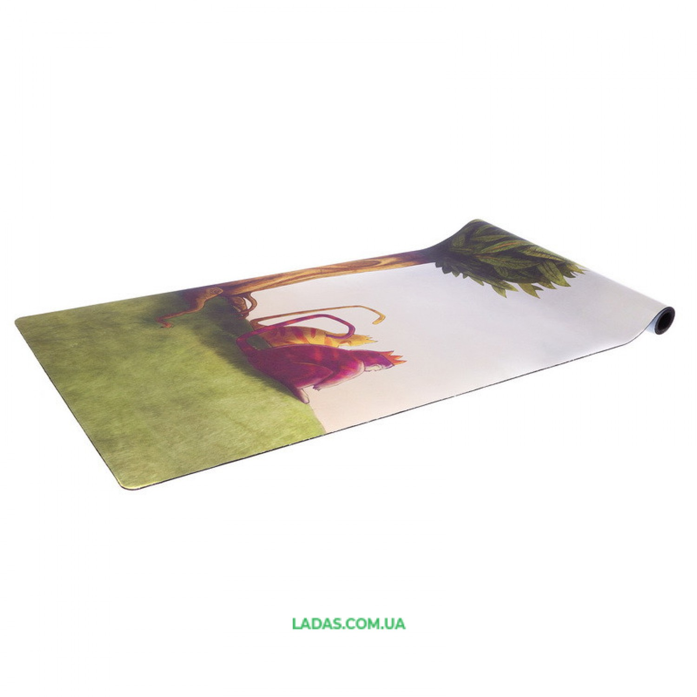 Коврик для йоги Замшевый каучуковый двухслойный Record (размер 1,83мx0,61мx3мм, зелёный)