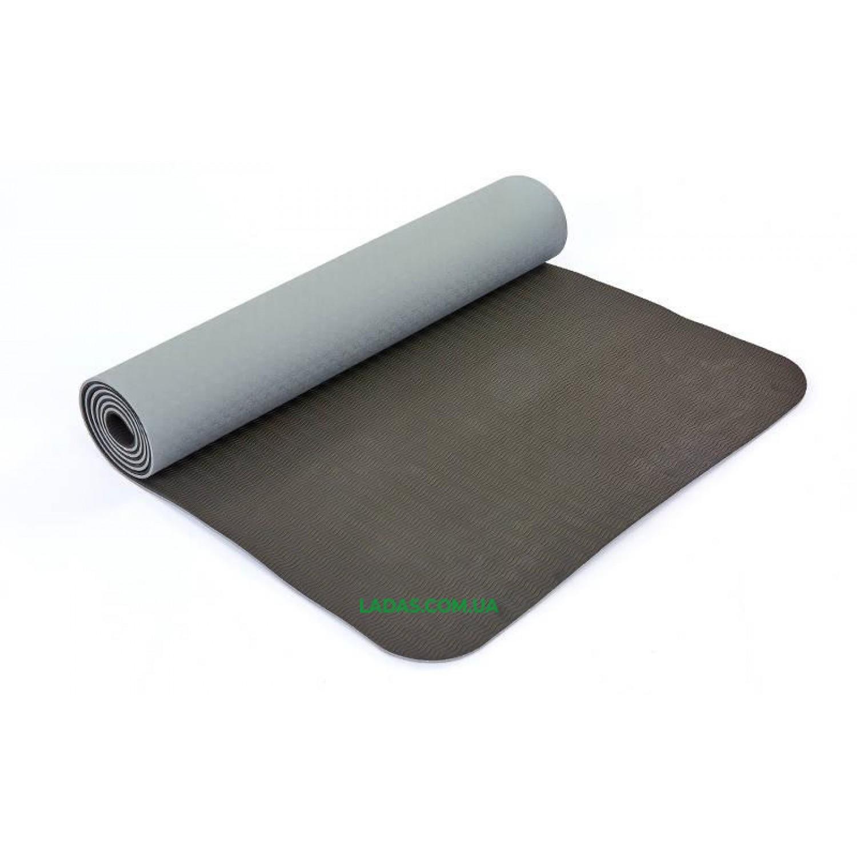 Коврик для фитнеса и йоги TPE+TC двухслойный (размер 1,83мx0,61мx6мм)